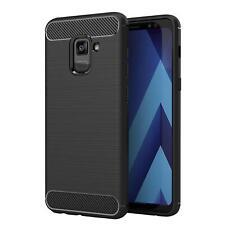 Samsung Galaxy A8 2018 Handyhülle Carbon Silikon Schutz Handy Hülle Tasche Case