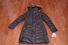 NWT Michael Kors Women Hood Fur Down Puffer Coat Jacket Gunmetal XS S M L XL