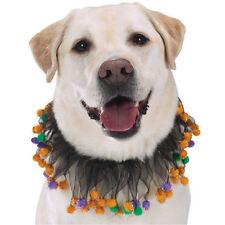 Aria Dog HALLOWEEN POM-POM Scrunchy Neck-Wear Ruffle Sparkling Black Fabric