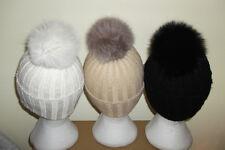 Véritable fourrure de renard pompon tricot laine bonnet. super chaud