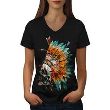Native Feather Skull Women V-Neck T-shirt NEW | Wellcoda