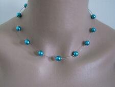 Collier Turquoise/Argenté pr robe de Mariée/Mariage/Soirée, perles verre nacrées