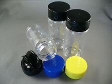 3 PCS SPICE BOTTLES JARS 4 oz PLASTIC w/Dual Sifter Caps 3 Color Choices 4oz