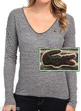 NWT Lacoste Contemporary Striped Dark Gray Deep Neck Tee