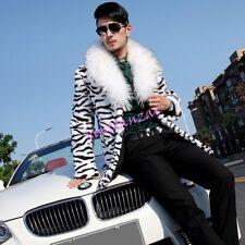 Mens Faux Fur Zebra Print Parka Jacket Coat Winter Overcoat S-3XL Winter Parka