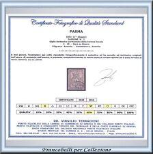 1852 Antichi Stati Parma c. 10 bianco n. 2 Usato Certif