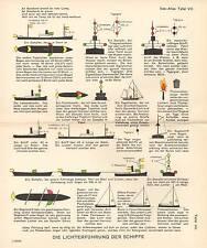 1944 SMALL GERMAN MERCANTILE MARINE PRINT ~ SHIPS LIGHTING PORT STARBOARD etc