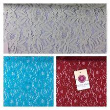 "Floral Soft Lace Semi Transparent 4 way stretch Fabric 55"" wide M186-14 Mtex"