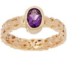 Natural Oval Amethyst Gemstone Byzantine Band Ring Real 14K Yellow Gold QVC