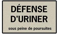 PLAQUE DÉCORATION TOILETTES WC Défense d'uriner en ALU
