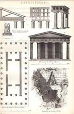1880 stampa ~ architettura Tempio di Teseo Atene TREASURY Atreo colonne