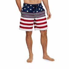 Men's USA American Flag Stars Stripes Red White & Blue Swim Trunk Board Shorts