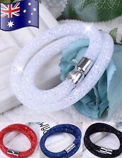 Stardust Mesh Wrap Bangle Bracelet with Swarovski Crystals Magnetic Clasp