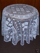 """Tischdecken """"Filet"""" rund weiß beige verschiedene Größen Landhausstil Handarbeit"""