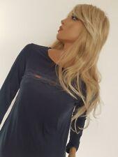 TWIN-SET Lingerie Simona Barbieri Maglia T-Shirt Blu o Beige con Inserto Pizzo