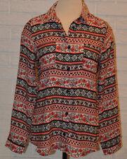 Women's Rue 21 Multi Floral Geo Button Front Long Sleeve Blouse Shirt Top Medium