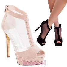 Zapatos botas de mujer a tobillo velado de ante tacones nuevo K1L9848-7