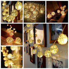 2.2M 20LED Lamps Guirlande Lumineuse Chaîne Rotin Boule Type Déco Noël Halloween