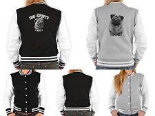 Damen College Jacke - Mops Motiv Jacke - Mops Zeichnung - Mobs / Pug Hundjacke