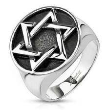 316L Stainless Steel Men's Star of David Medallion Cast Ring Size 9-14