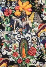 Alexander Henry Noir Contigo mexicaine Crâne Squelette Tissu FQ/Mètre Rockabilly