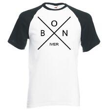"BON IVER  ""X LOGO"" UNISEX, RAGLAN BASEBALL T-SHIRT"