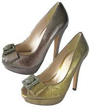 Bourne Gold Pewter 2-8 Leather Annabel Peeptoe �162 Diamante Crystal Bow Heels