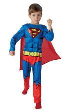 Kids Boys Childs RETRO Superman Fancy Dress Costume Outfit Comic Superhero