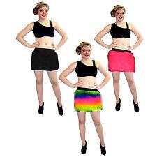 FLUFFY FUR NEON UV MULTI, PINK, BLACK FURRY SKIRTS DANCE CYBER RAVE
