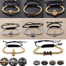 Charm Men's Cubic Zircon Bead Viking Buddha Batman Skull Bead Macrame Bracelets