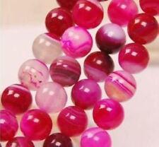 "6-10mm Pink Stripe Agate Onyx Gem Round Loose Bead 15"""