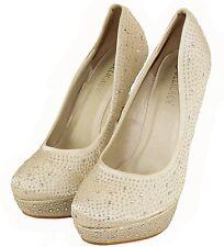 New women's shoes stilettos pumps rhinestones evening wedding ivory champagne