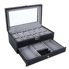 Leather Jewelry Box with Display Drawer 12 Watch Men Women Lock Organizer - NEW