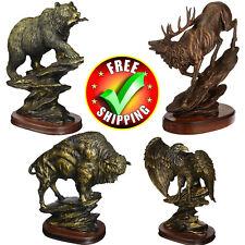 Bronze Sculpture Statue Bison Antiqued Large Elk Bear Modern Abstract Buffalo
