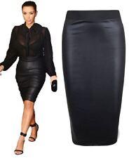 Ladies Black Wet Look Pencil Midi Skirt Womens Shinny PVC Elasticated Band Skirt