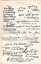 1880 PRINT ~ AUTOGRAPHS 14TH 15TH 16TH CENTURIES ~ AGNES SOREL CHARLES V  ETC