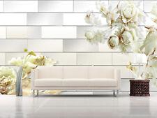 3D Fleur Blanc 332 Photo Papier Peint en Autocollant Murale Plafond Chambre Art