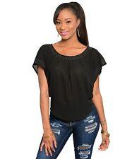 NEW Pretty Good Women's Studded Trim Neckline Curved Hem Black Blouse/Top S M L