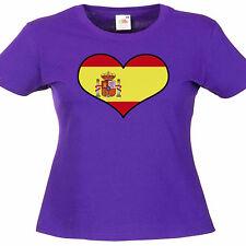 España Amor Corazón señoras Lady Fit T Shirt 13 Colores Talla 6 - 16