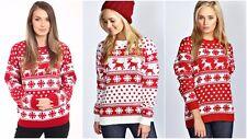 Femme noël pull femmes unisexe renne flocon de neige tricoté noël pull top
