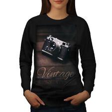 Wellcoda Vintage Foto Camera Womens Sweatshirt, Retro Casual Pullover Jumper