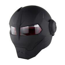 Soman 515 Motorcycle Helmet Skull Casque Motorbike Iron Man Matte Black Dumb