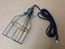 Vintage Brass Edison Lighting Pendant Black Round Cord w/Plug BRONZE Bulb Cage