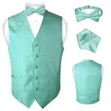 Men's Paisley Design Dress Vest & Bow Tie TURQUOISE AQUA GREEN Color BOWTie Set