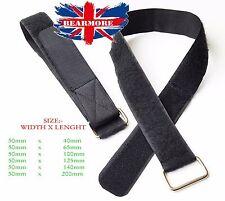 50mm di larghezza x 40,65,100,125,140,200 cm Hook Loop CABLE TIE DOWN STRAP Gancio Metallico