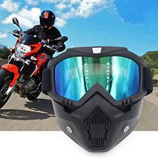 Motorcycle Motobike Bike Riding Helmet Open Face Mask Shield Goggles Detachable