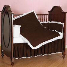 Mini Crib Ruffle Reversible Bedding Set Fitted Skirt Comforter Pillowcase Bumper