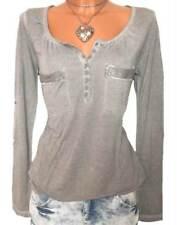 LAURA SCOTT Shirt GR. 32 34 36 38 grau used Look Pailletten Damen NEU - 093