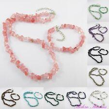 Gemstone Chip Necklace & Bracelet Set Select from 13 Styles