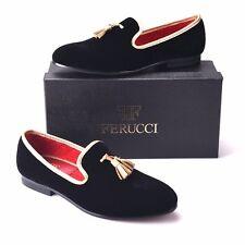 FERUCCI Black custom-made Velvet Slippers loafers with Gold Tassel
